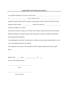 assignment of benefits form template printable assignment of insurance policy legal pleading
