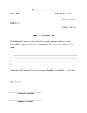 Printable Request For Discovery Legal Pleading Template